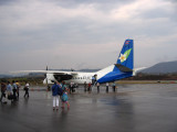 Lao Airlines Chinese-built MA60 turboprop arriving at Luang Prabang