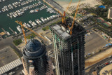 Finishing touches on the Dubai Mariott Harbour Hotel (left)