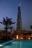 Burj Dubai from the pool of Burj Dubai Residences