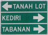 The road to popular temple of Tanah Lot is well marked