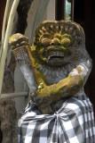Balinese statue wearing a sarong, Tanah Lot