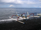Outrigger canoe used for boat dives at Tulamben, though most diving is from the beach