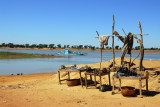 Table set up along the Bani River at the Djenné ferry landing