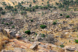 The first sight of the large Dogon village of Tereli at the base of the cliff