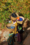 Dogon women with baskets on the trail