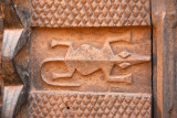 Detail of a carved door in the shape of a crocodile