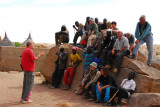 Günter briefing the group on the Dogon dance that we are about to see