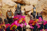 Dogon mask dancers of Tereli resting after the performance