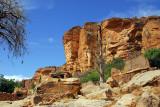 Bandiagara Escarpment rising above the Dogon village of Tereli