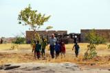 Hubertus and half a dozen kids returning to base camp