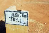 Sign for Daga Tereli off the main road along the Bandiagara Plateau
