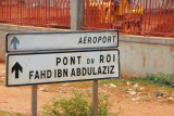 Sign for Bamako Airport via the King Fahd Bridge