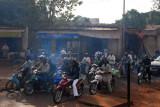Smokey motor bike traffic, Bamako