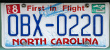 North Carolina license plate