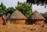 Village of round thatched mud huts, Mali