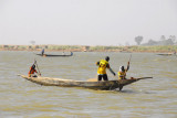 Dad pulls in the fishing nets on a pirogue, Niger River, Mali