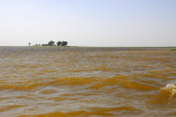 Wide Niger River during the high water season