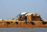 Primitive shelter along the south bank of the Niger River, Mali