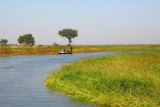 Heading up a tributary of the Niger to the town of Konna, Mali