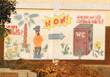 Mural on the side of a school trying to teach kids to use the WC instead of a tree, Glazoue, Benin