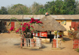 A small thatched bar along the main road, Benin