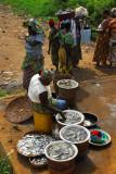 Fish market at the Ganvié boat landing