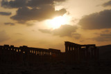 Sunset over the main Colonnade, Ancient Palmyra, Syria