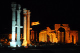 Monumental Archway, Palmyra, illuminated at night