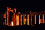 Colonnade and Monumental Arch, Palmyra, illuminated at night