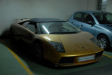 Beat up Lamborghini in the garage of the Grosvenor House