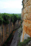 The hand-cut gorge forming the eastern defense of Saone Castle