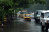 Flooded road in Calcutta during monsoon season