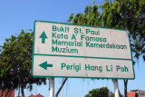 Roadsign for the sights of Melaka