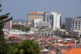 View of Melaka from St. Paul's Hill with modern towers rising above the old town