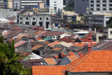 Tiled rooftops of Melaka's Old Town from St. Paul's Hill
