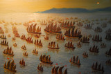 Artists impression of the grand fleet of Chinese Admiral Zheng He (Chung Ho)