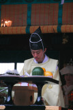 Shinto priest officiating at a wedding, Kamakura