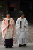 Japanese priests waiting to start a procession