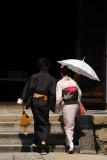 Japanese couple in traditional dress, Kodai-ji