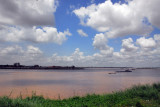 Tonle Sap River passing Phnom Penh upstream from the Mekong confluence, Cambodia