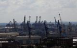 Cranes of the Port of Hamburg from Nikolaikirche