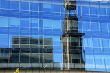 Michaeliskirche reflected in a Hamburg office tower