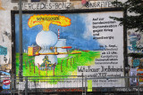 Rote Flora, protest poster against war and nuclear energy, Hamburg-Schanzenviertel