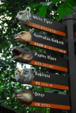 Direction signs to the various animal exhibits