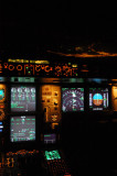 A340-500 cockpit with the lights of Fujairah, UAE