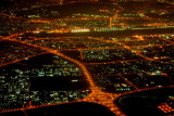 Dubai at night looking west towards the airport