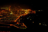 Dubai coast at night seen from over Sharjah
