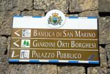 Tourist direction sign - Basilica di San Marino & Palazzo Pubblico