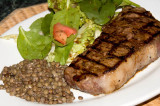 strip steak, salad and lentils