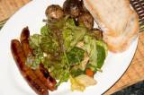 lamb sausage, salad and pan roasted rosemary potatoes